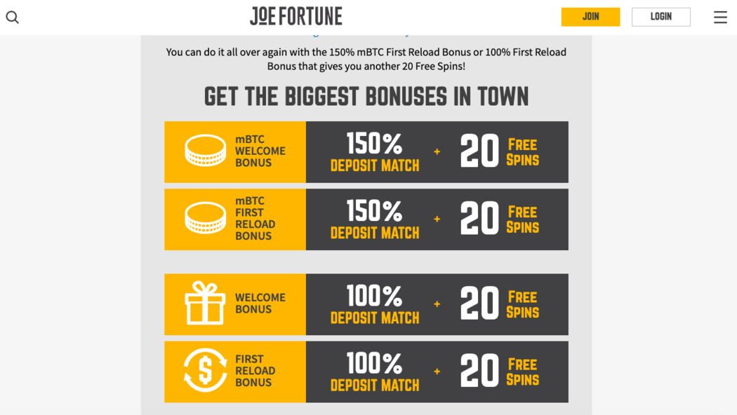 Joe Fortune Bonus System